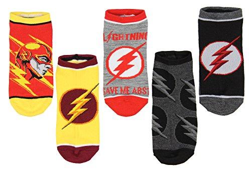 DC Comics The Flash Lighting Logo 5 Pair No-Show Ankle Socks