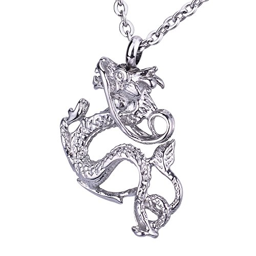 Dragon Urn Keepsake Pendant Necklace Stainless Steel Memorial Ash Cremation Jewelry