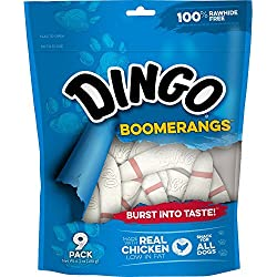 Dingo Rawhide Free Boomerang, 9 treats per bag