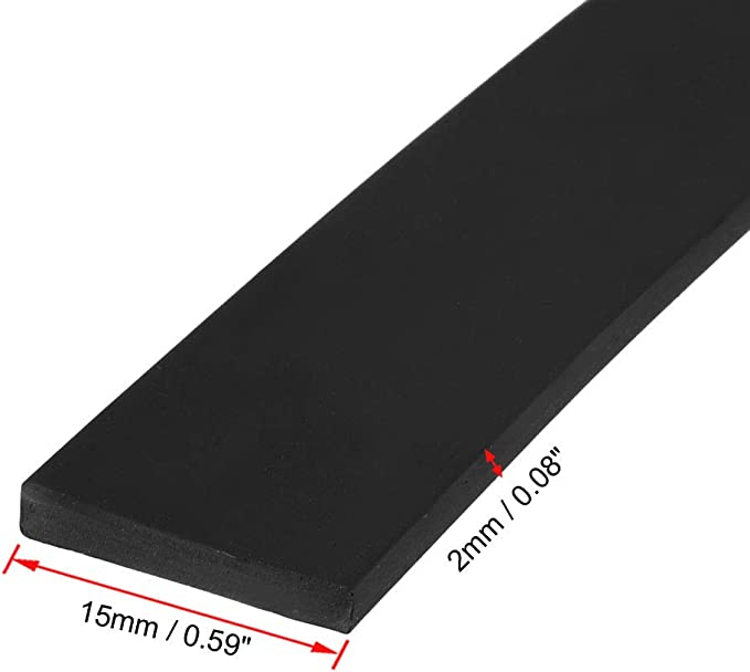sourcing map Solid Rectangle Rubber Seal Strip 15mm Wide 10mm Thick 5 Meters Long Black
