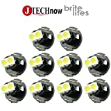 Jtech 10 x T4.2 Neo Wedge 2 SMD LED White Car Instrument Cluster Panel, A/C Dash Climate Gauge, Heater Control Lights Bulbs