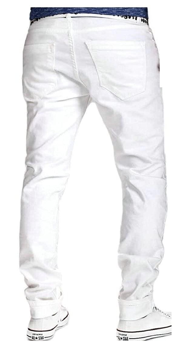 HTOOHTOOH Men Fashional Casual Wash Ripped Hole Solid Jeans