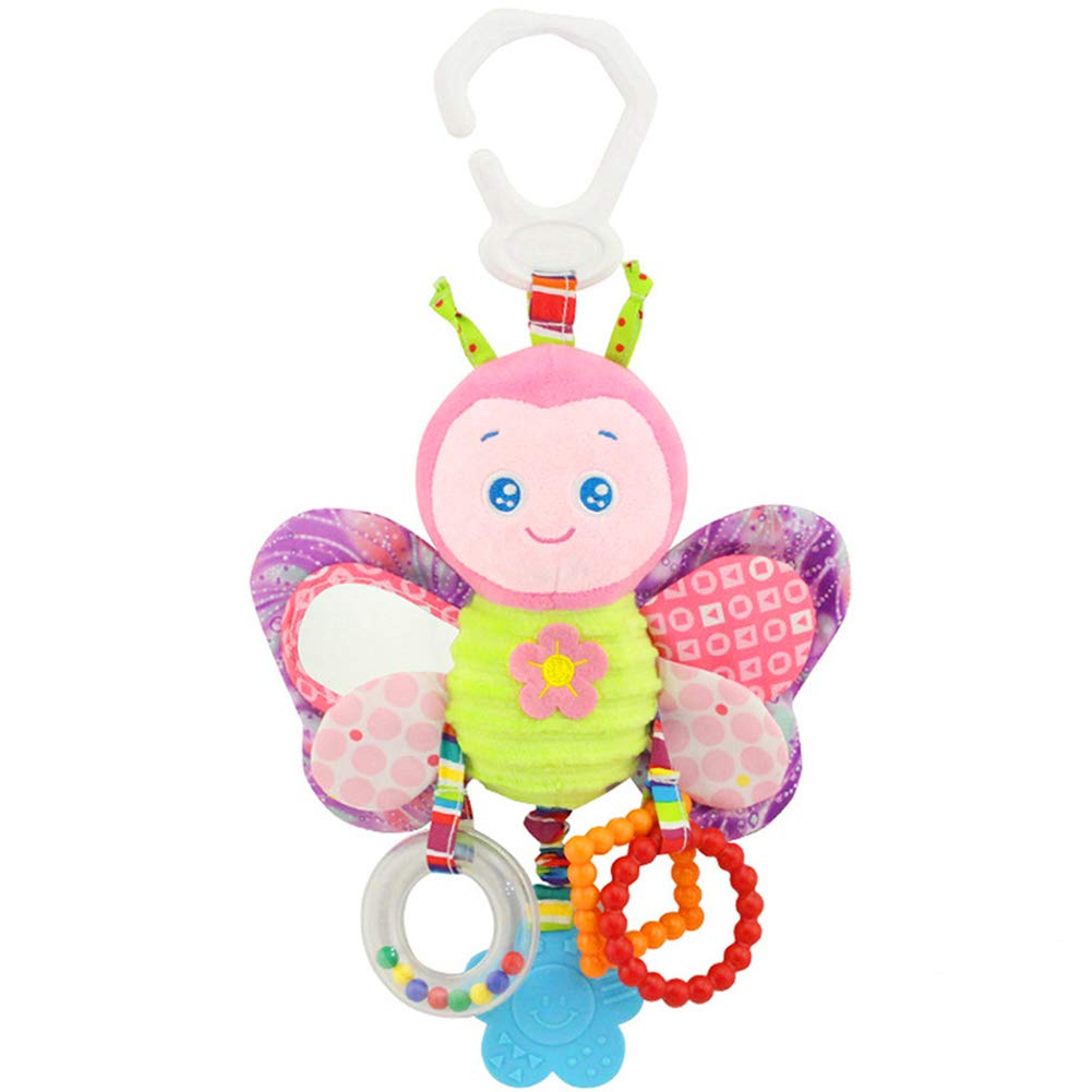 DierCosy Rattle toy plush baby toddler rattle car seat baby carriage crib play hanging toy interaction and educational toy butterfly