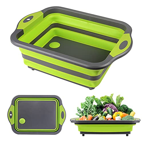 Collapsible Cutting Board with Colander, HI NINGER 3 in1 Foldable Chopping Board, Space Saving Kitchen Vegetable Washing…