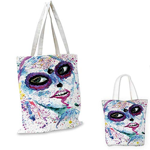 Girls shopping tote bag Grunge Halloween Lady with Sugar Skull Make Up Creepy Dead Face Gothic Woman Artsy travel shopping bag Blue Purple. 16