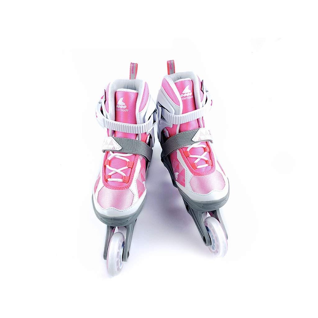TKW 調整可能なインラインスケートセット、初心者用プロフェッショナルスケートシューズ、誕生日プレゼントブルーローラースケート(ブルーピンク) (Color : ピンク, Size : L (EU 36-40)) ピンク L (EU 36-40)