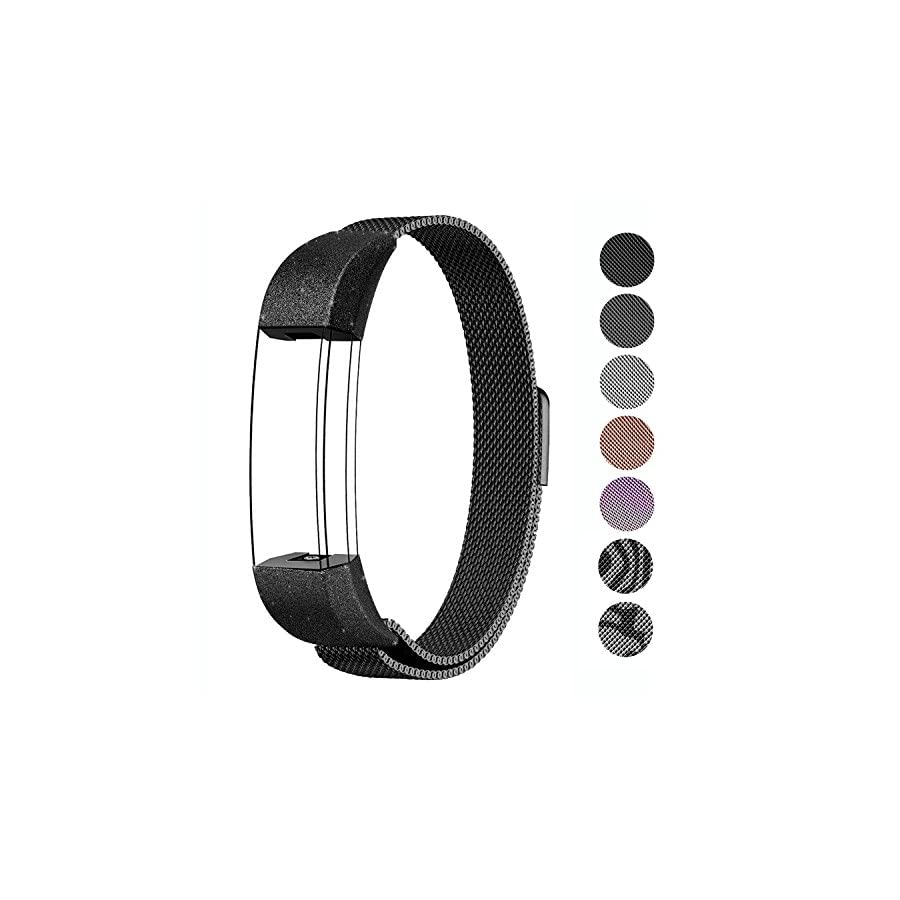 "SWEES Metal Bands Compatible Fitbit Alta & Fitbit Alta HR Bracelet, Replacement Small (5.5"" 8.6"") Stainless Steel Magnetic Wristband Watch Band for Women, Men, Rose Gold, Black, Silver, Colorful"