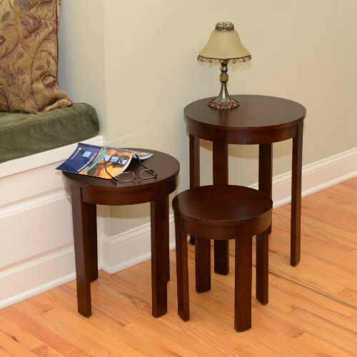 Bay Shore Collection Round Nesting End Table Set, 3-Piece Espresso