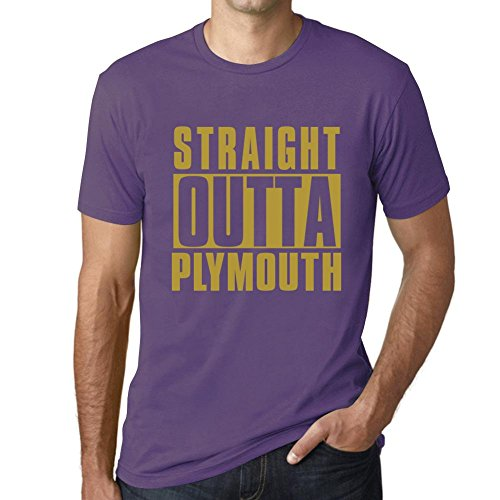 (Men's T Shirt Vintage Graphic Tee Straight Outta Plymouth Light Purple Medium)