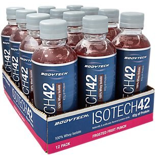 BodyTech IsoTech 42 Flavored Protein Drink with 42 Grams of Protein, 100 Whey Isolate, Fruit Punch (12 Drinks) For Sale