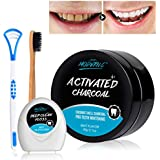 Teeth Whitening Powder Activated Charcoal Coconut -2.1oz-Teeth Whitening Kit-Bamboo Toothbrush and Teeth Floss Tongue Scraper – Tooth Powder-Oral Care Teeth Stain Removal(MINT 2)