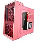 APEVIA X-ENERQ-PK Micro ATX/Mini ATX Gaming/HTPC Case, Support VGA up to 290mm/ATX PS, USB3.0/2.0/HD Audio/SD/Micro SD Ports, 2x120mm Red LED fan–Pink