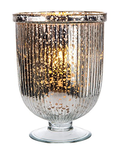 Luna Bazaar Fluted Hurricane Mercury Glass Candle Holder (9-Inch, Silver) ()