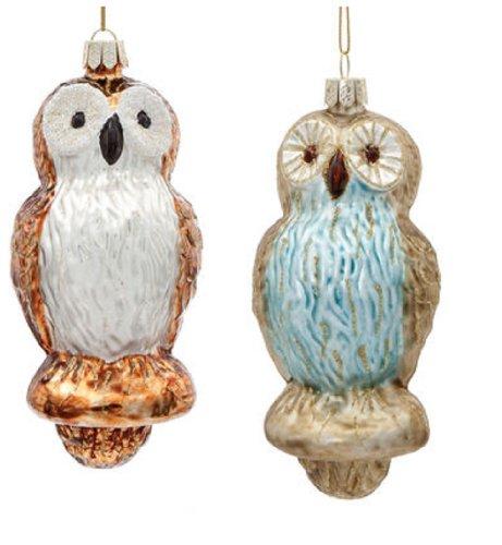Demdaco Glass Owl Christmas Ornaments Set of 2