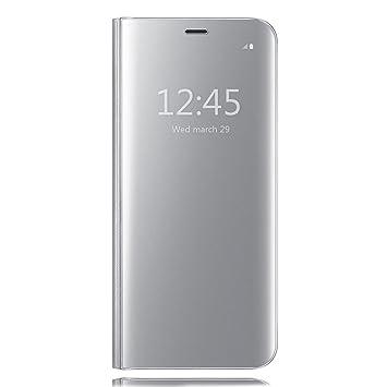 Funda Samsung Galaxy S6 Edge Plus, HiChili Clear Standing Flip Cover Carcasa Ultra Delgado Translúcido Espejo Slim Fit Smart Cover para Samsung Galaxy ...