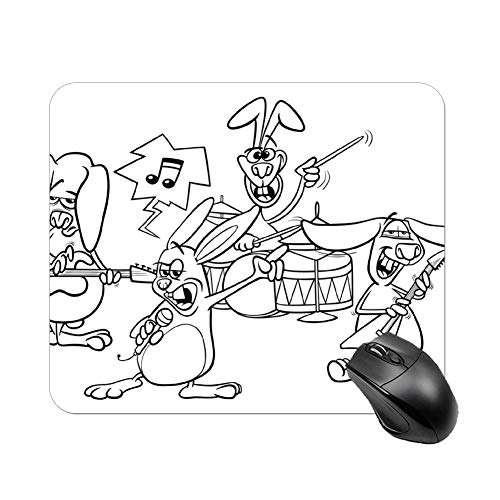 FGN Mouse Pad Rabbits Rock Music Band Coloring Page Mousepad Non-Slip Rubber Gaming Mouse Pad Rectangle Mouse Pads for Computers Laptop