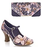 Ruby Shoo Women's Slate Floral Brocade Madelaine Mary Jane Pumps & Matching Bologna Bag UK 6 EU 39