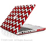 """TopCase Chevron Series Black Outline Red Ultra Slim Light Weight Rubberized Hard Case Cover for Macbook Pro 13-inch 13"""" (A1278/with or without Thunderbolt) - NOT for Retina Display - with TopCase Chevron Mouse Pad"""