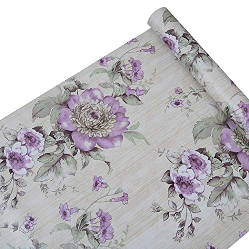 Self Adhesive Decorative Purple Peony Floral Contact Paper Shelf Liner Peel and Stick Removable Wallpaper for Shelves Drawer Furniture Wall Arts and Crafts Decoration 17.7x78.7 Inches