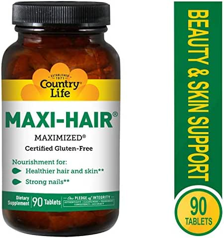 Country Life Maxi-Hair with 2000mcg of Biotin, Nourishes Hair, Skin and Nails 90 Tablets