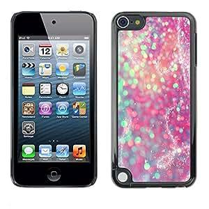 rígido protector delgado Shell Prima Delgada Casa Carcasa Funda Case Bandera Cover Armor para Apple iPod Touch 5 /Teal Pink Purple Sparkly Snow/ STRONG