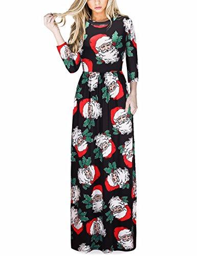 Dress Santa (Ruiyige Women's Xmas Santa Claus Print Christmas Dress Maxi Dress)