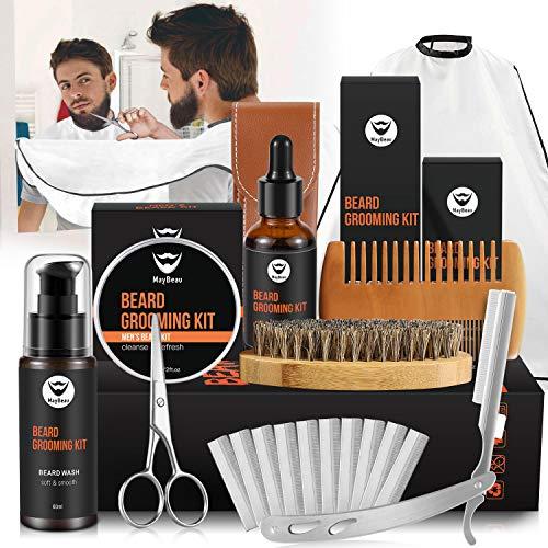 Mens Beard Grooming Care Kit, MayBeau Upgraded Beard Set with Beard Bib,Straight Razor,Trimming Scissor,Beard Oil, Shampoo, Balm, Shaping Tool,Brush,Comb, Razor Blades, Best Christmas Gift for Men