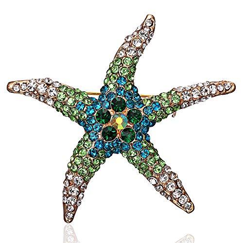 Eiffy Full Crystal Rhinestones Big Starfish Brooch Blue Green Animal Sea Star Brooches for Women Brooch Pin Jewelry Accessories (Blue)