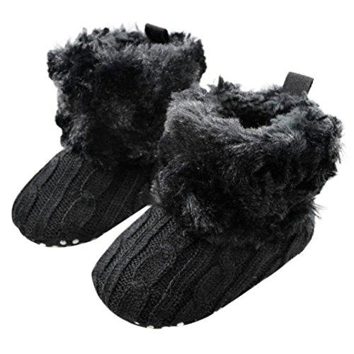 Voberry Baby Premium Soft Sole Anti-Slip Warm Winter Infant Prewalker Toddler Button Snow Boots (6-12months(12CM), Black)