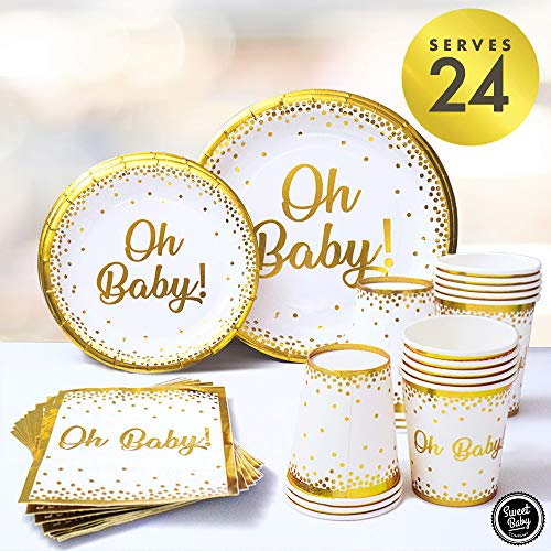Sweet Baby Co. Oh Baby Shower Plates and Napkins Neutral for Boy or Girl with White and Gold Paper Plates, Cups, and Napkins | Disposable Tableware for 24 Guests | -