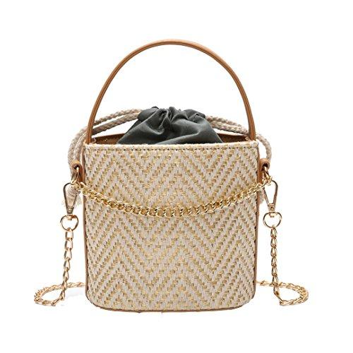r Top Handle Drawstring Straw Bucket Beach Bag Woven Crossbody Bag Shoulder Bag(Beige) ()