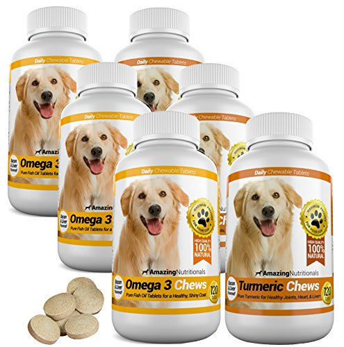 Amazing Combo Omega-3 Fish Oil and Turmeric Curcumin for Dogs - Pure All-Natural Pet Antioxidant - Promotes Shiny Coat, Brain Health, Eliminates Diarrhea Gas and Joint Pain, 120 Tasty Chews x 2 by Amazing Nutritionals