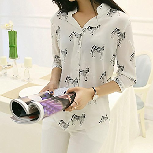 Flora Palarn Veil Blouse Cool Women Print Women Fashion White3 Breathable Tops Chiffon Blouse aawRx8
