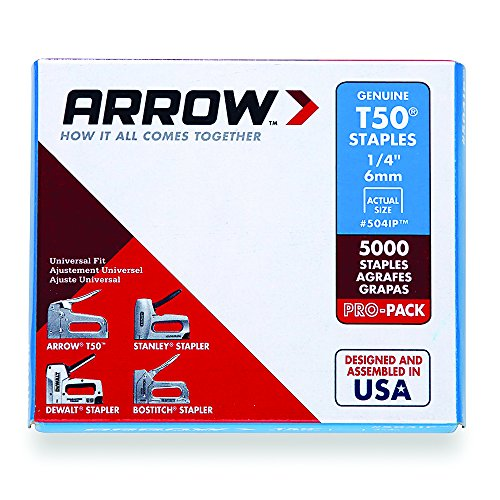 Arrow Fastener 504IP Genuine T50 1/4-Inch Staples, 5,000-Pack (Electric Staple Gun Arrow)