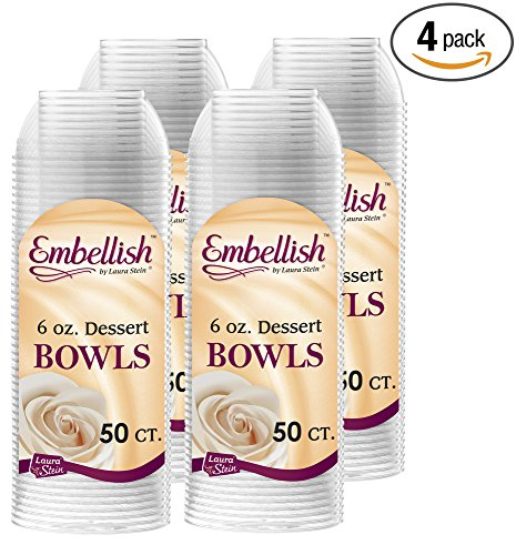 6 Ounce Plastic Cups (Embellish Hard Plastic 6 Ounce Clear Bowls 50 Count Pack Of 4)