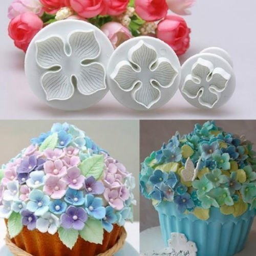 Salesland 3pcs Hydrangea Flower Fondant Cake Decorating Sugarcraft Plunger Cutter DIY Mold