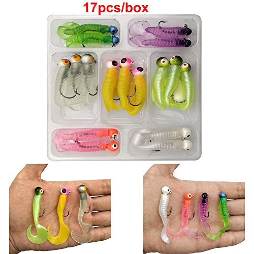 17 Piece 7 Colors Soft Jig Lead Heads Hooks Kit - Lead Jig
