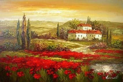 Amazon.com: Flower Field Landscape Painting Italian Tuscany Red ...