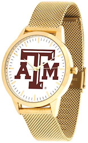 Texas A&m Wrist Watch - Texas A&M Aggies - Mesh Statement Watch - Gold Band
