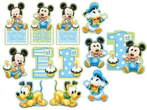 12-Piece 1er Value pack anniversaire découpe Décor de Mickey, Bleu
