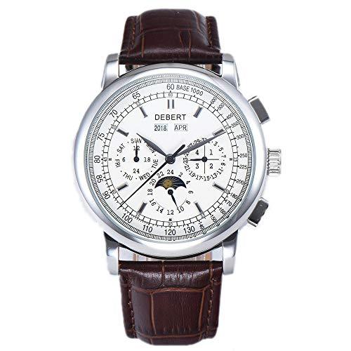 Debert Sapphire Glass Self-wind Automatic Men's Wrist Watch Blue Dial Luminous