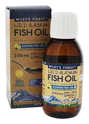 Finest Natural Fish Oil - Wiley s Finest Wild Alaskan Fish Oil Kosher Fish Oil Natural Lemon Flavor 4 23 fl oz 125 ml