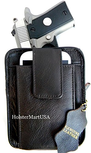 (Roma Leathers Belt Pistol Concealed Carry Pack (Brown, 5.5