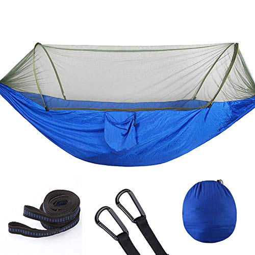 JIA-WALK Portable Outdoor Camping Hammock with Mosquito Net Parachute Fabric Hammocks Beds Hanging Swing Sleeping Bed Tree Tent,HK3 250X120cm Blue