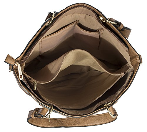 BHBS Bolso de Hombro para Dama en Imitación Piel con un Asa Superior 38x33x18 cm (LxAxP) Design 7 - Medium Tan