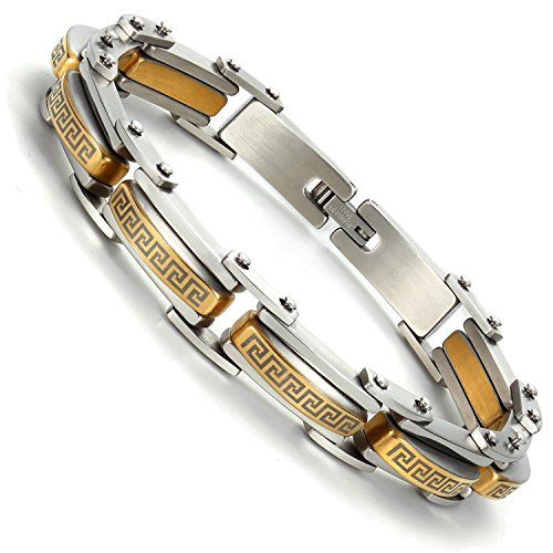 Industrial Greek Pattern 316L Stainless Steel Link Cuff Bracelet for Men (Gold, (Gents Gold Bracelet)