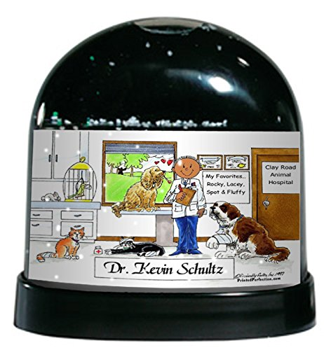 Personalized Friendly Folks Cartoon Caricature Snow Globe Gift: Veterinarian - Male Great for animal hospital, thank you gift, veterinary office