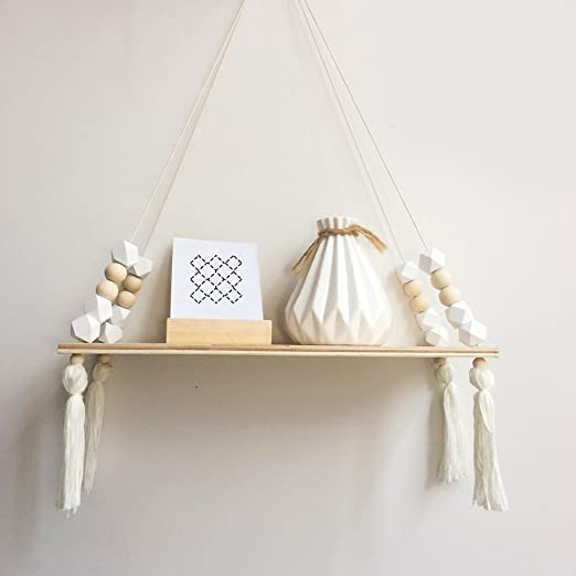 Large Wooden Nordic Style Hanging Tassel Bead Storage Wall Shelf Kids Bedroom US