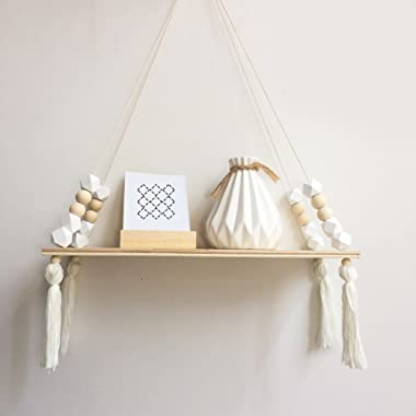 Ochine Hanging Shelf with Pure Color, Nordic Style Wooden Bead Tassels Storage Rack Wall Rope Hanging Shelf for Decor of Bedroom, Living Room, Kitchen, Office