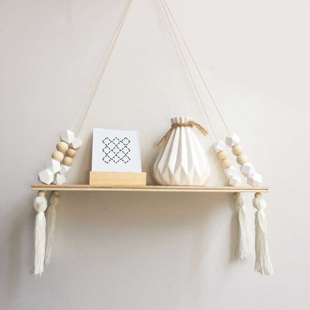 YESIDO Nordic Style Wooden Bead Tassels Storage Rack Wall Rope Hanging Shelf for Decor of Bedroom, Living Room, Kitchen, Office